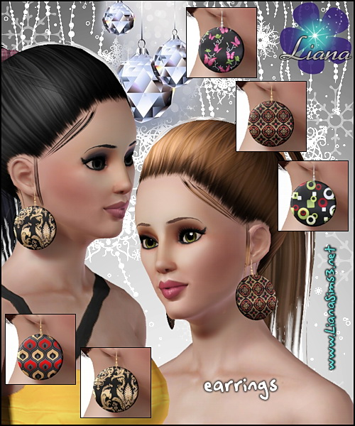 Disk earrings, you can create unlimited designs using your favorite patterns, 3 color variations included, only available in package format