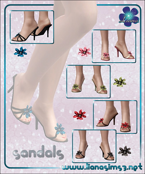Flower sandals for ya/a females, recolorable.