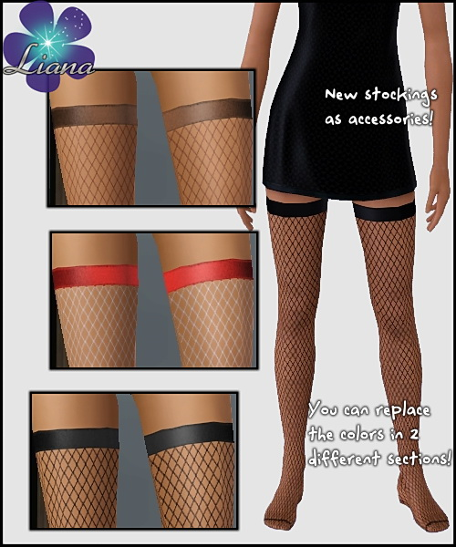 Fence Net Stockings with satin band - you can recolor the net and the band with any color/pattern. Available for teen, ya/adult, elder.