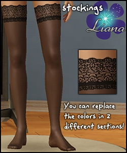 New lace stockings for your sims - you can change the colors in 2 sections! Available for teen, ya/adult, elder.