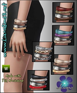 Another set of 4 fashion bangles for your sims! Available for ya-a, teen and elder female. Recolorable. Updated!!! IN PACKAGE FORMAT