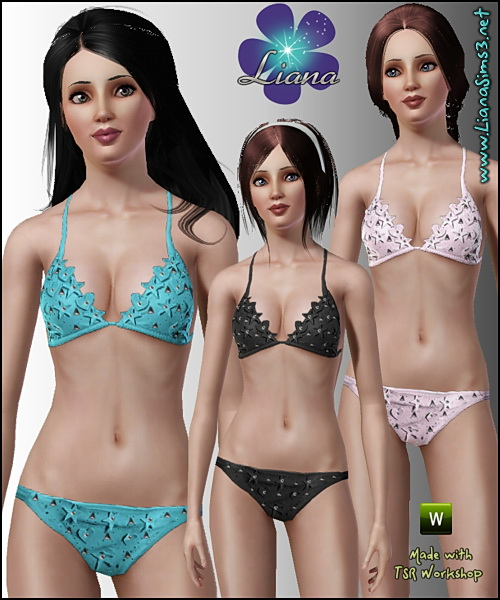 Stars and hearts applique bikini swimwear - trendy, flirty and fashionable! Recolorable