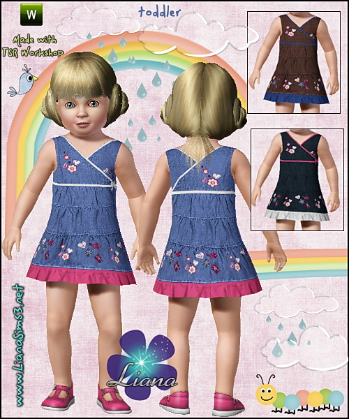 Denim ruffle dress with embroidered flowers, recolorable
