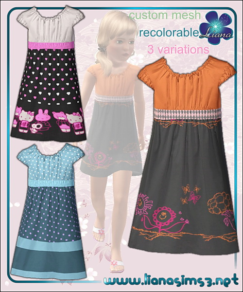 Colorful dress for little girls, recolorable