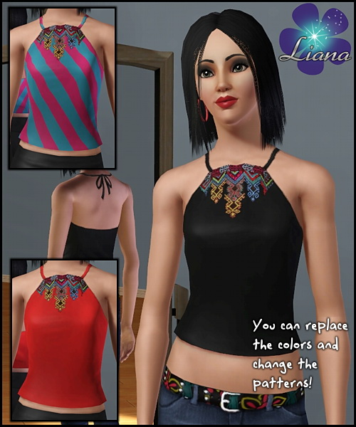 Halter ethnic top with multicolored embroidery(as stencil) - you can change the color and the pattern for the top. Available for everyday and formal.