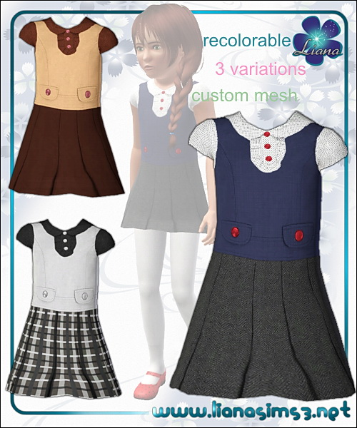 Dress for girls, recolorable