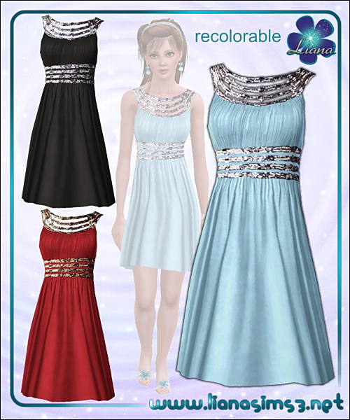 Elegant sparkle straps dress, recolorable