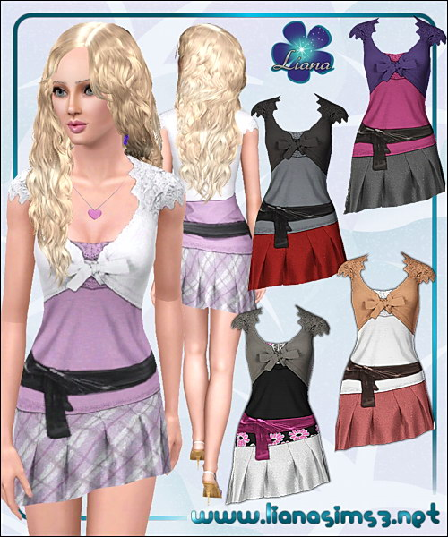 Asymmetric skirt with large leather belt and crochet top, recolorable