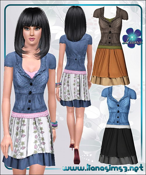 Denim jacket and double layer skirt, recolorable