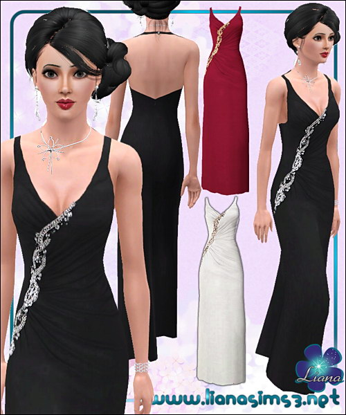Flattering evening dress featuring a beautiful rhinestone detail, fully recolorable