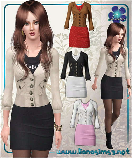 Stylish outfit featuring a short dress and a modern jacket, recolorable