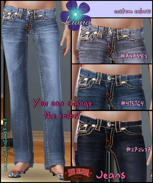 True Religion very detailed low rise boot cut jeans with multi colored chunky stitching for sims3.