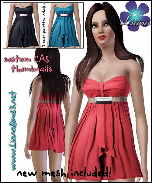Satin babydoll dress featuring an upper waist belt, 3 color variations  and a new mesh included! Made with TSR Workshop.