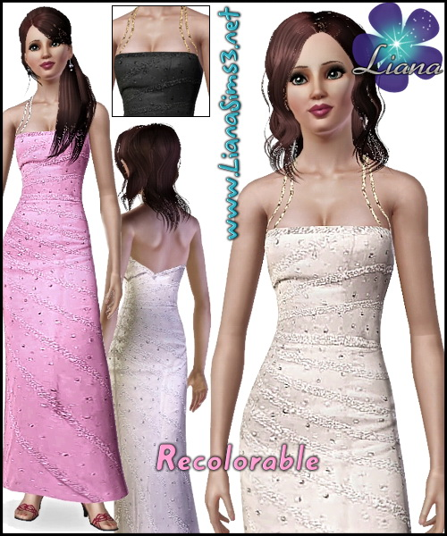 Rhinestone formal long dress featuring double straps and an asimetric back. 3 color variations, new mesh and new bump included, recolorable.