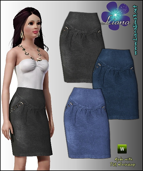 Denim skirt featuring antique finish metal studs on the sides, recolorable, 3 color variations included, custom launcher and CAS thumbnails, new custom mesh included!