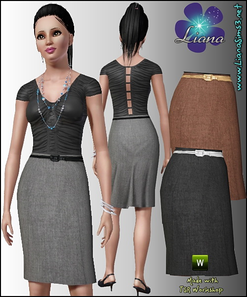 Classic pencil linen skirt with pleating detail at back featuring a skinny recolorable belt.