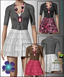 Mini dress with cardigan and designer necklace. The necklace is not recolorable, the outfit is.