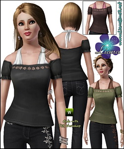 Off shoulder blouse featuring a halter underneath, recolorable.