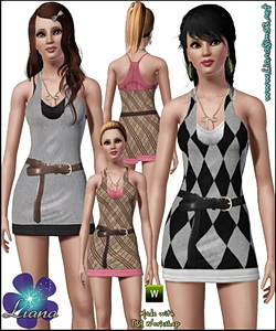 Overlay recolorable dress featuring a bow gold necklace!