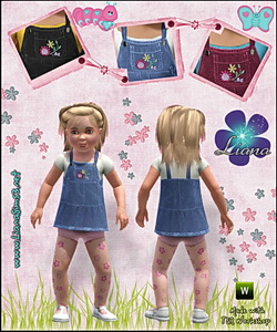 Toddler outfit - denim overall dress, recolorable