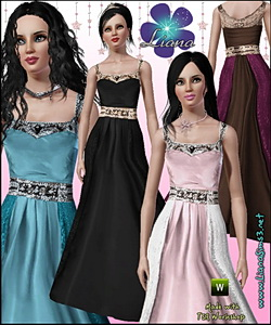 Princess formal dress in 4 color palettes, recolorable