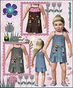 Denim embroidered toddler dress, recolorable.