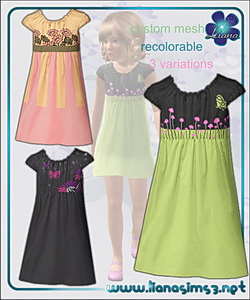 Pretty dress for children, recolorable