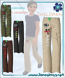 Cargo pants for boys, recolorable