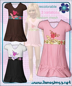 Garden Dream - dress for girls decorated with flowers and butterflies, recolorable