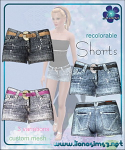 Denim shorts with belt included, recolorable