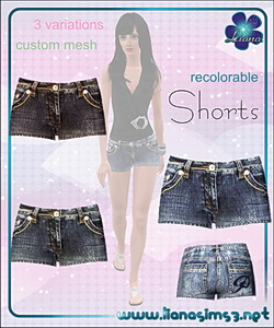 Recolorable denim shorts