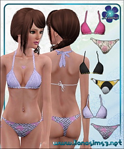 Mix and match swimwear featuring a crochet bra and patterned bikini, recolorable.