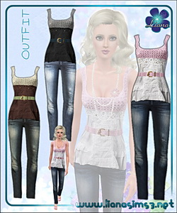 Outfit featuring skinny jeans and crochet top with leather breaded belt, recolorable