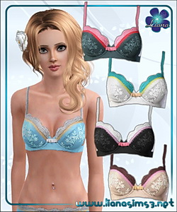 Sweet lingerie bra, recolorable, 5 variations included.