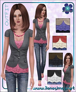 Jeans and short sleeve twill jacket outfit, recolorable