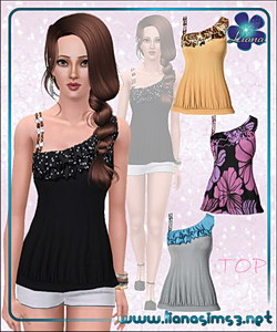 Asymmetrical top with ruffles and bejeweled strap, recolorable