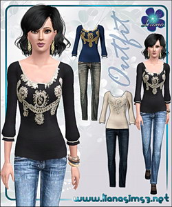 Embellished puff sleeves sweater and skinny jeans outfit, recolorable