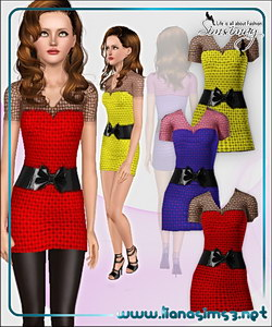 Mini dress in strong colors, recolorable except for the belt
