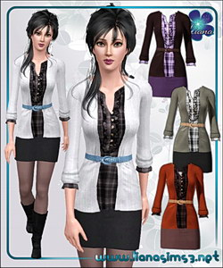 Checker print shirt and mini skirt outfit featuring a cropped cardigan, recolorable