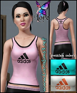 Adidas inspired ClimaCool ventilation tehnology stretch tank. by Lore from <a href =http://www.lorandiasims3.com target=_blank>www.LorandiaSims3.com</a>