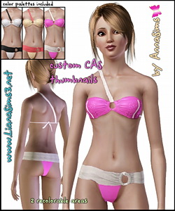 Chic 2-piece swimsuit, 2 recolorable areas, 3 custom palettes included.