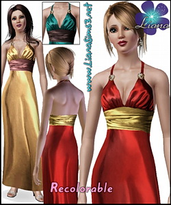 Satin long lenght dress with golden brooches details on the straps, 3 color variations included in the pack, custom mesh, recolorable.