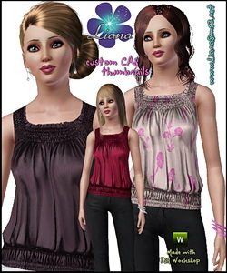 Satin tank top with ruffle hem, 3 color variations, custom mesh included.