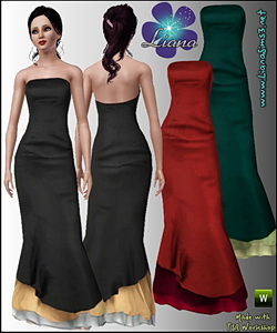 Elegant and flatering long formal dress, recolorable, 3 color variations included, new custom mesh included!