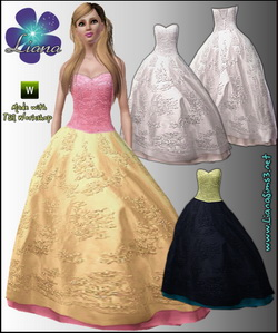 Embroidered corset ball gown - bridal version included, recolorable, 3 color variations, new custom mesh included!