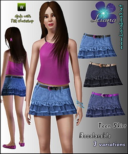 Teen denim mini ruffle skirt featuring a skinny belt.
