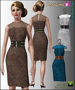 Elegant pencil dress with wide 2 colors belt. Recolorable.