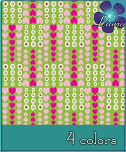 Hearts and flowers - pattern in 4 colors - best suited for children: wallpapers, carpets, furniture and clothes! See the alternate colors for more combinations!