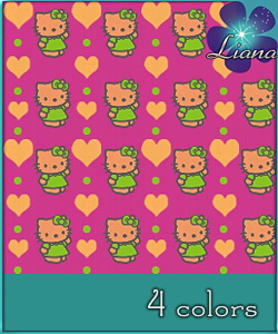 Hello Kitty pattern in 4 colors - best suited for children: wallpapers, carpets, furniture and clothes!